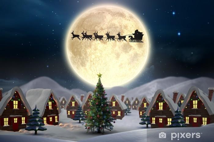 Pixerstick Sticker Samengesteld beeld van leuke kerst dorp - Kerstmis