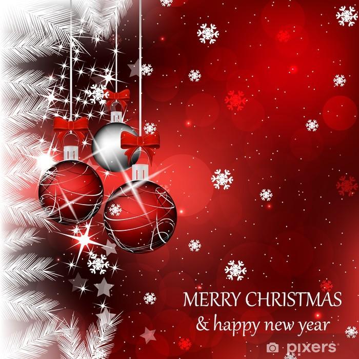 Papier peint vinyle Fond de Noël avec des boules de Noël de couleur rouge - Fêtes internationales