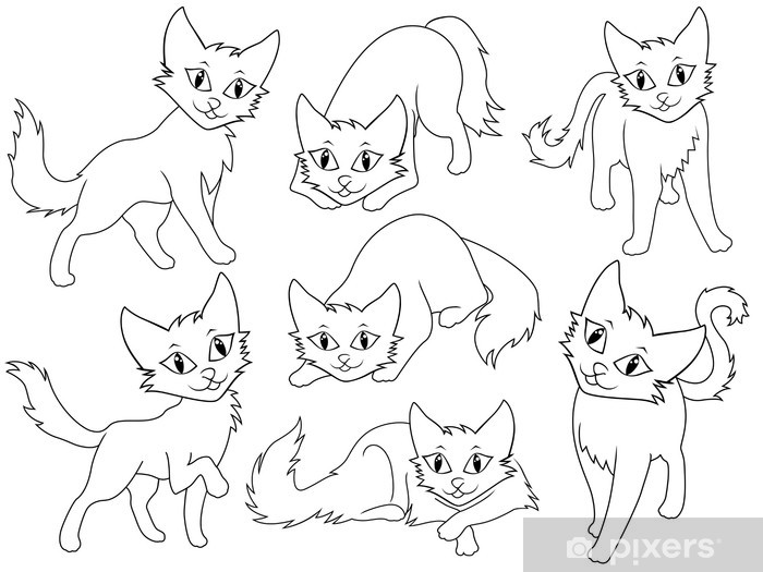Nálepka Pixerstick Sedm vtipné karikatury kočky - Savci