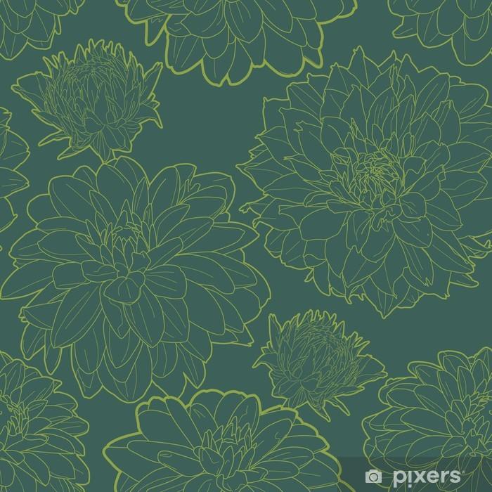 Poster Grün Jahrgang Blumenmuster mit aster - Texturen