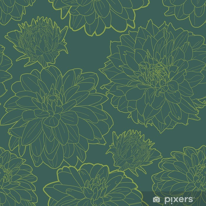 Green vintage floral pattern with aster Poster - Textures