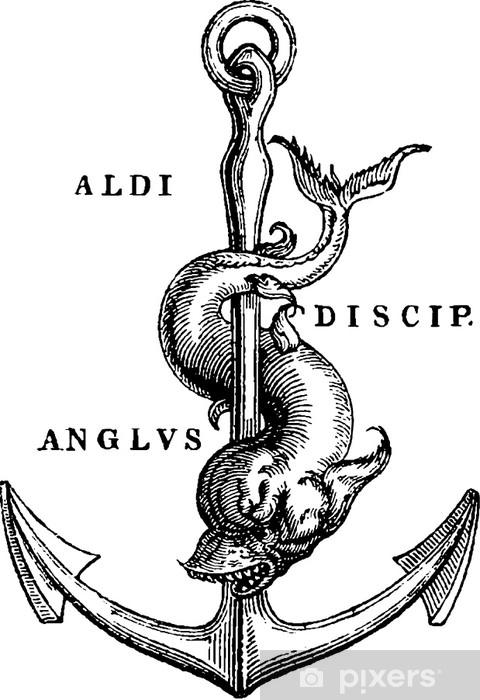 Fototapeta winylowa Antyczne ilustracja kotwica morska - Krajobrazy