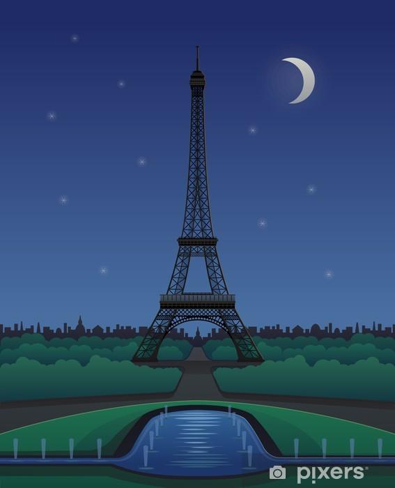 Papier peint vinyle Vecteur Tour Eiffel Paysage de nuit avec des étoiles et de la lune - Villes européennes