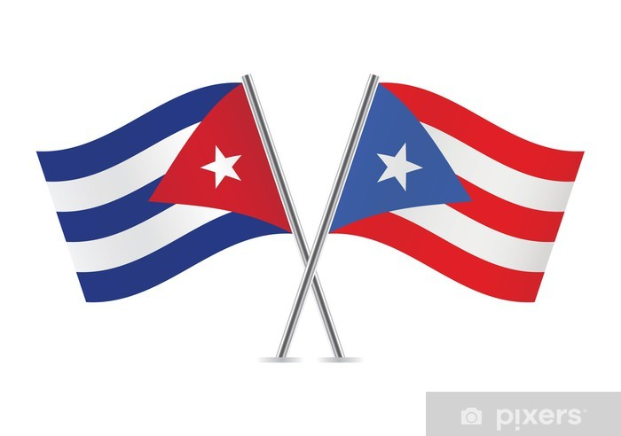 Cuban and Puerto Rican flags. Vector illustration. Vinyl Wall Mural - Signs and Symbols