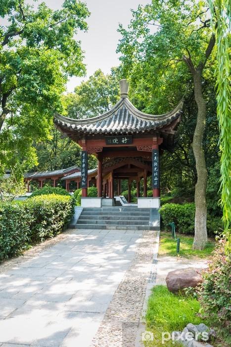 Papier peint vinyle Le pavillon dans le jardin traditionnel chinois - Bâtiments publics
