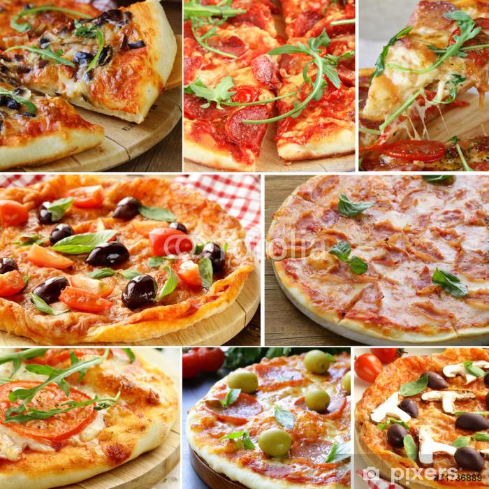 Plakát Nastavit různé druhy pizzy s olivami, rajčaty a houbami - Jídla