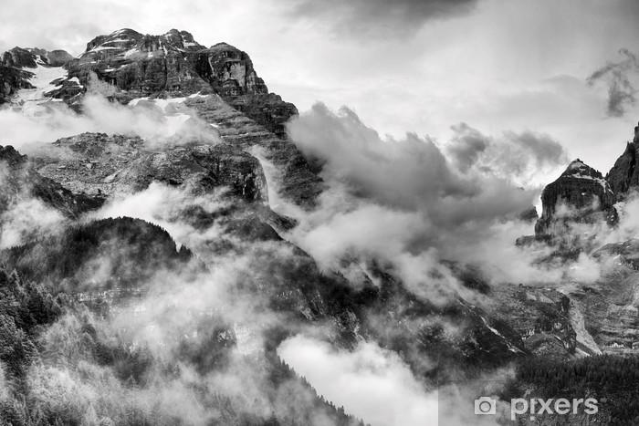 Carta da Parati in Vinile Dolomiti Montagne in bianco e nero -