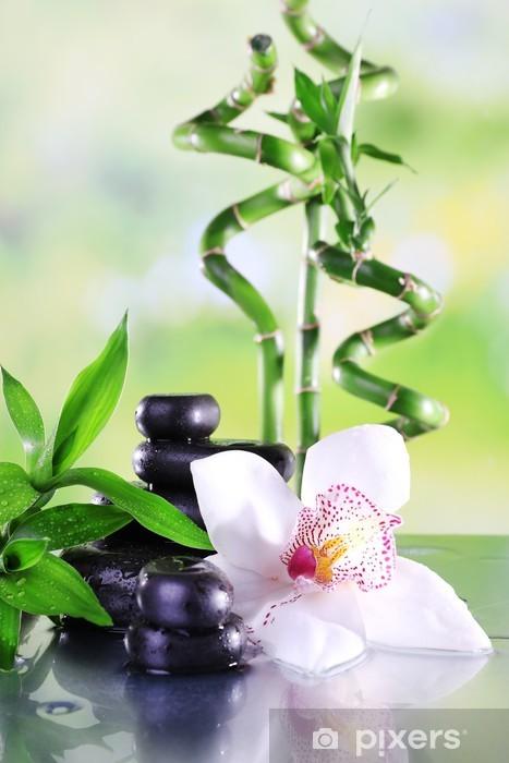 Fototapeta winylowa Spa kamienie, bambus gałęzie i biały storczyk - Tematy