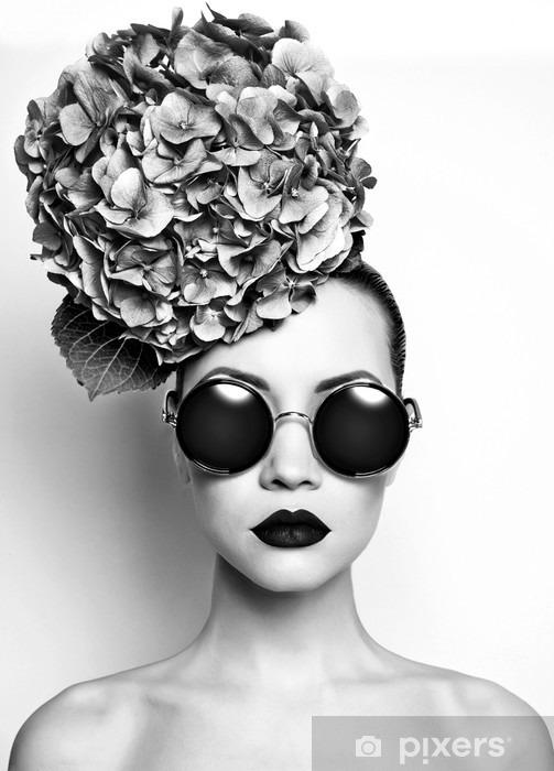 Beautiful lady with hydrangea Pixerstick Sticker - People