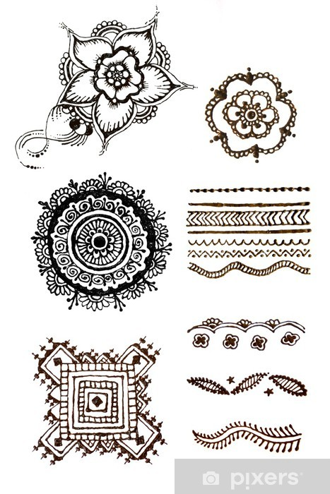 Henna Patterns On A White Background Sticker Pixers We Live To