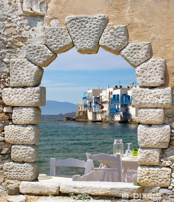 Sticker Pixerstick Vue panoramique de la petite Venise sur l'île de Mykonos, en Grèce - Thèmes
