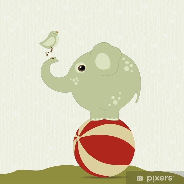 Elephant on the ball with a bird Vinyl Wall Mural - Mammals