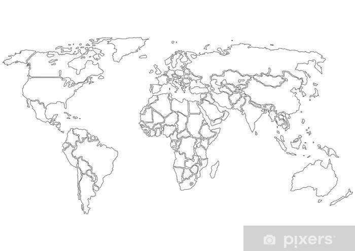 Fototapeta Mapa Swiata Czarne Kontury Tylko Pixers Zyjemy By