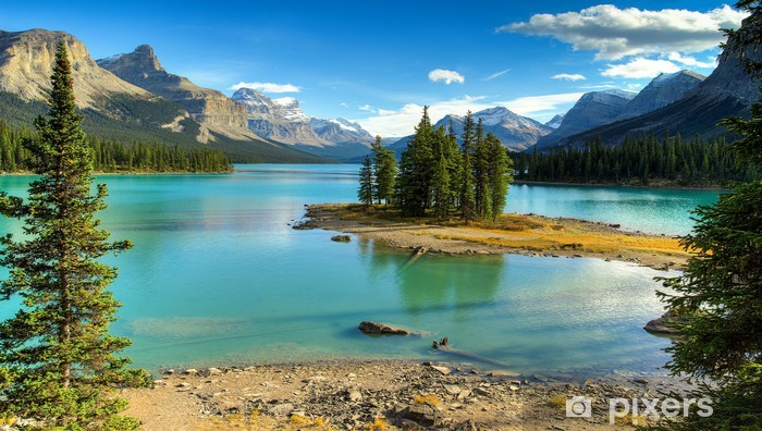 Spirit Isalnd in Maligne Lake Vinyl Wall Mural - Themes