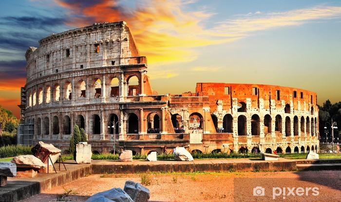 Sticker Pixerstick Grande Colisée sur le coucher du soleil, Rome - Thèmes