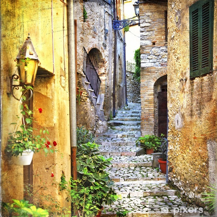 charming old streets of mediterranean Pixerstick Sticker - Themes