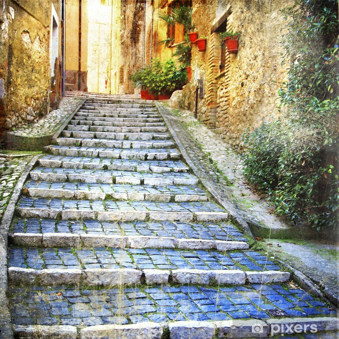 charming old streets of medieval villages of Italy Pixerstick Sticker - Themes