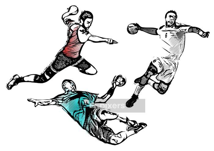 Veggklistremerke Håndball spillere - vektorillustrasjon - Veggklistremerke
