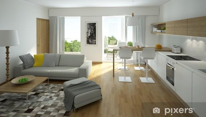 Fototapete Rendering von einem modernen Wohnzimmer mit offener Küche ...