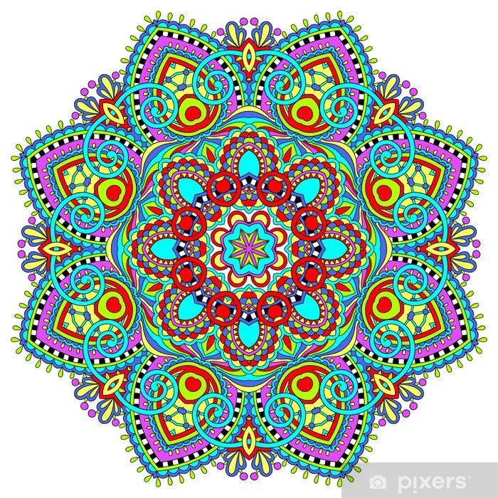 Vinilo Pixerstick Adornos de encaje Círculo, Diseño geométrico tapete ornamental redondo, - Vinilo para pared