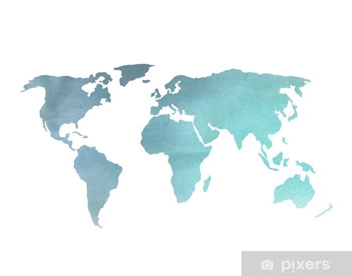 Fototapete Blau Aquarell Weltkarte Pixers Wir Leben Um Zu
