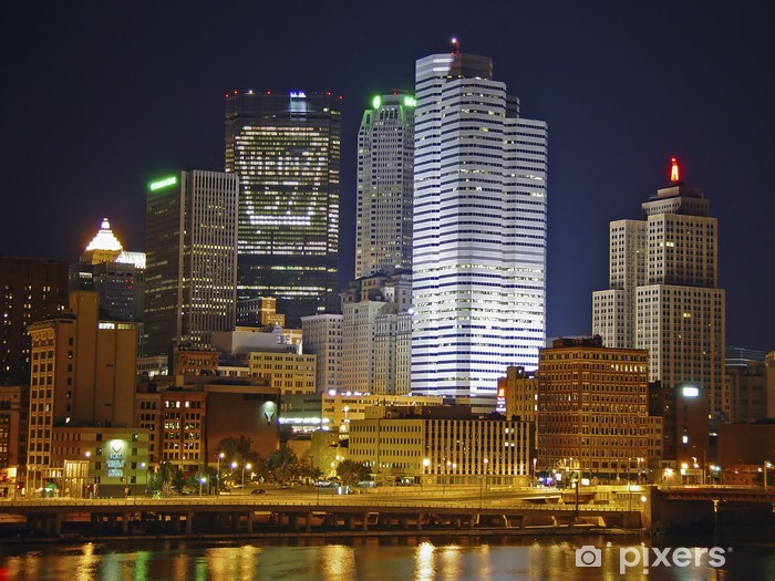Vinyl-Fototapete Pittsburgh-Leuchten - Amerika