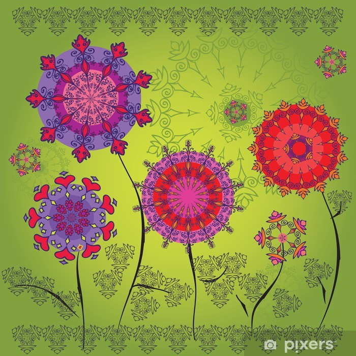 Fototapeta winylowa Kolorowe kwiaty mandali na zielonym tle - Style