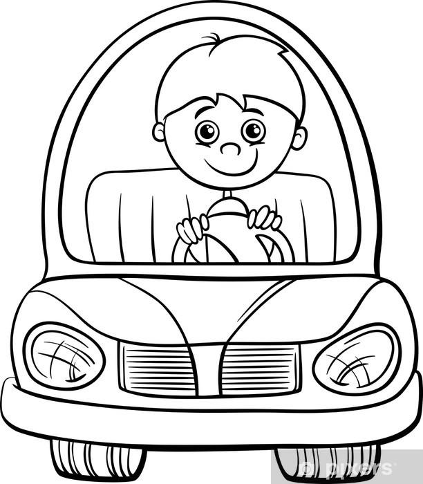 Araba Karikatür Boyama Oğlan Duvar Resmi Pixers Haydi Dünyanızı