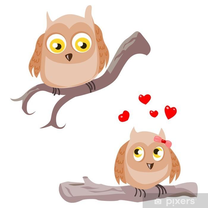 brown owls interested Pixerstick Sticker - Happiness