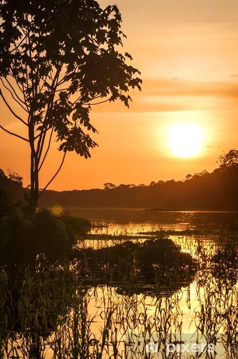 Nálepka Pixerstick Řeka v amazonského deštného pralesa za soumraku, Peru, Jižní Amerika - Amerika
