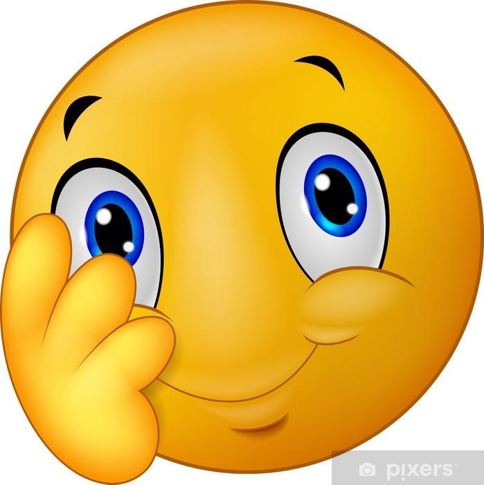 Shy Emoticon Smiley Sticker Pixerstick