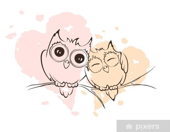 Sticker Pixerstick Illustration - hiboux d'amour sur une branche - Fêtes internationales