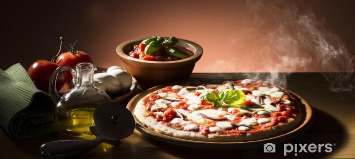 Vinylová fototapeta Pizza s přísadami na dřevěném stole - Vinylová fototapeta
