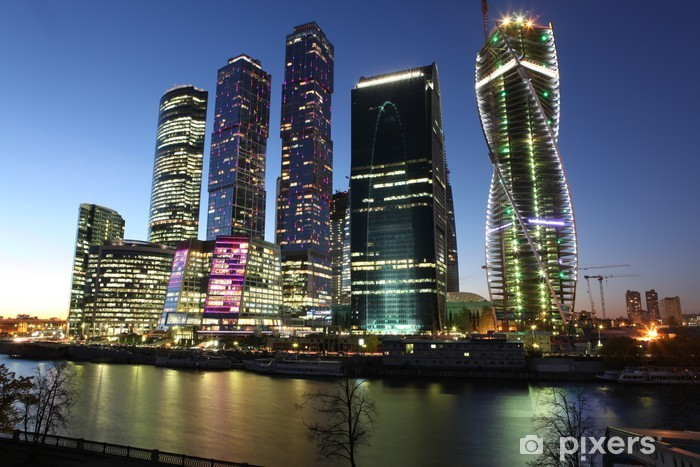 Famous and Beautiful night view Skyscrapers City international b Vinyl Wall Mural - Other
