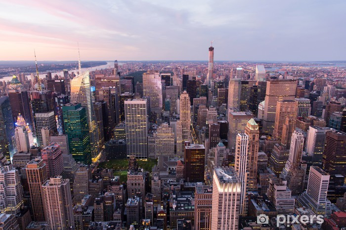 Nálepka Pixerstick New York City Manhattan při západu slunce - Americká města