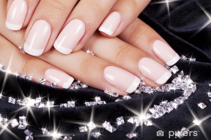 Beautiful woman's nails with french manicure and diamonds. Vinyl Wall Mural - Lifestyle>Body Care and Beauty