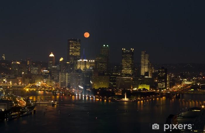 Vinyl Fotobehang Volle maan over gebouwen van de Stad - Amerika