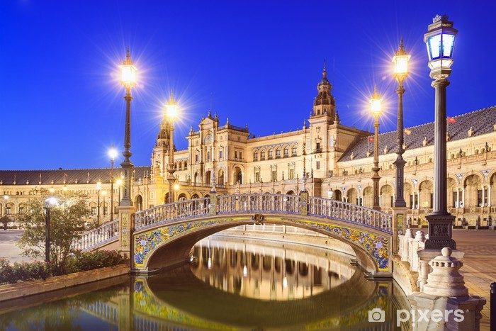 Spanish Square of Seville, Spain Pixerstick Sticker - Themes