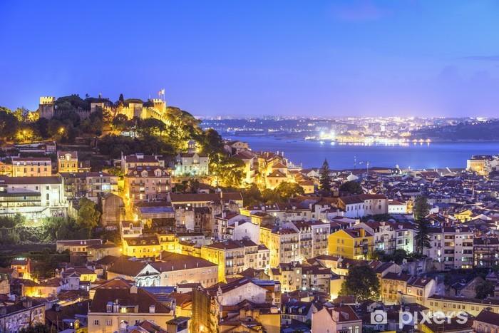 Lisbon, Portugal Skyline and Castle Pixerstick Sticker - European Cities