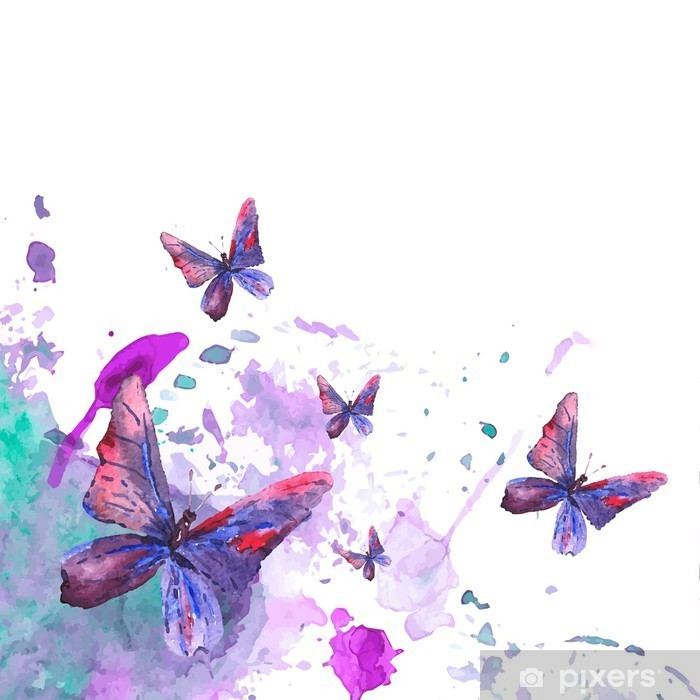 Çıkartması Pixerstick Kelebekler soyut suluboya arka plan - Grafik kaynakları