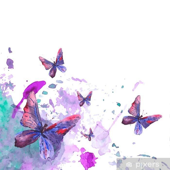 Pixerstick Dekor Abstrakt akvarell bakgrund med fjärilar - Grafiska resurser