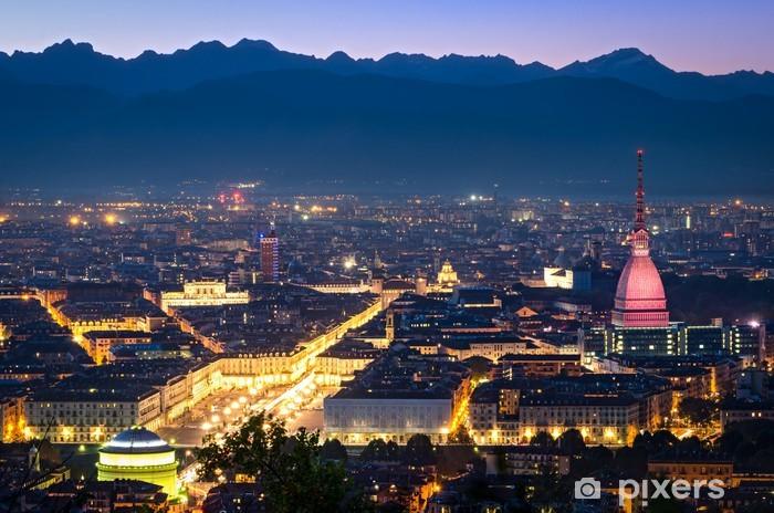 Papier peint vinyle Turin (Torino), panorama de nuit - Europe