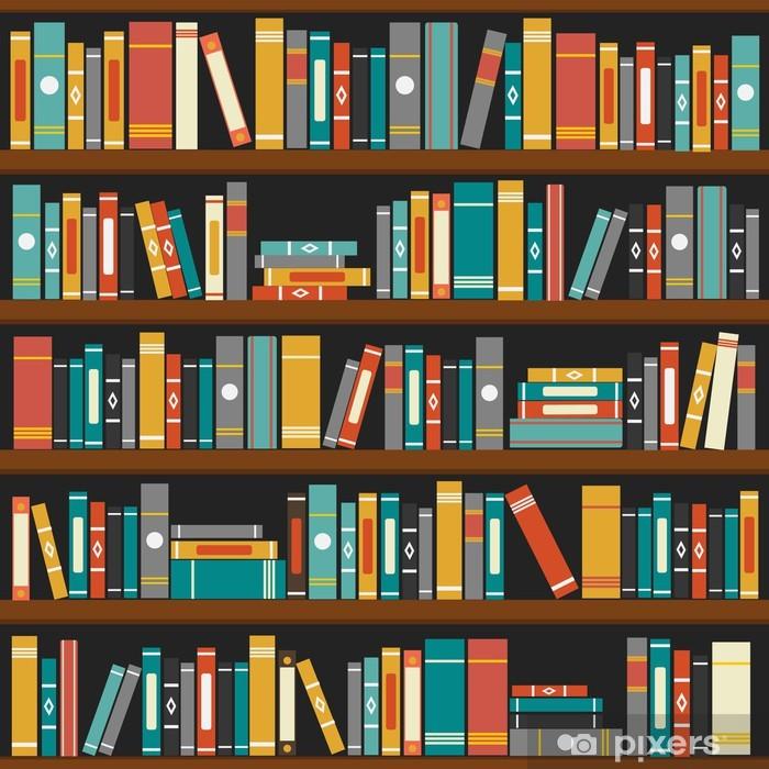 Papier peint vinyle Vecteur de livres de bibliothèque étagère fond - Bibliothèque