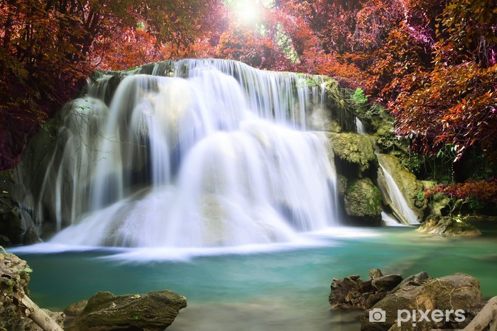 Beautiful waterfall in autumn forest Pixerstick Sticker - Themes