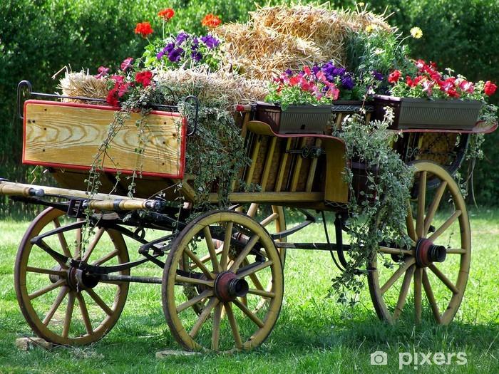 Nálepka Pixerstick Starý vůz plný květin - Květiny