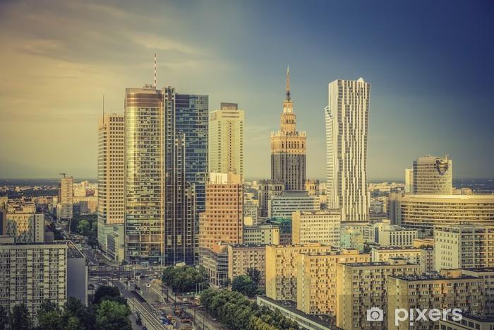Vinilo Pixerstick Distrito financiero de Varsovia, en la tarde, Polonia - Temas