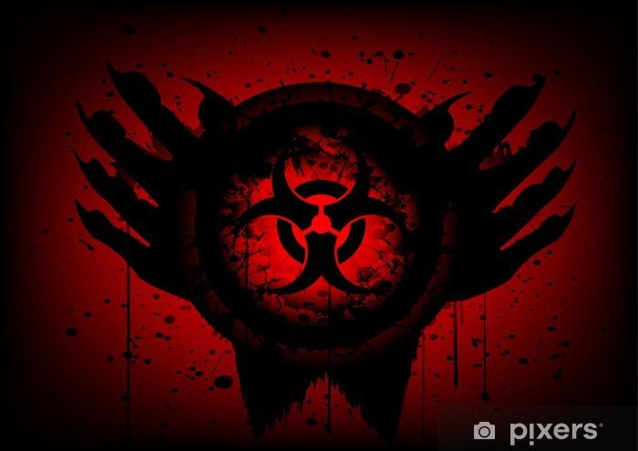 Papier peint vinyle Symbole Biohazard sur le cercle et la main fond abstrait - Thèmes