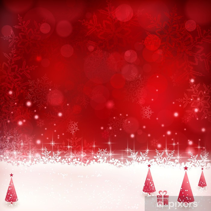 Red Christmas Background.Red Christmas Background With Snowflakes Stars And Christmas Tr Wall Mural Vinyl