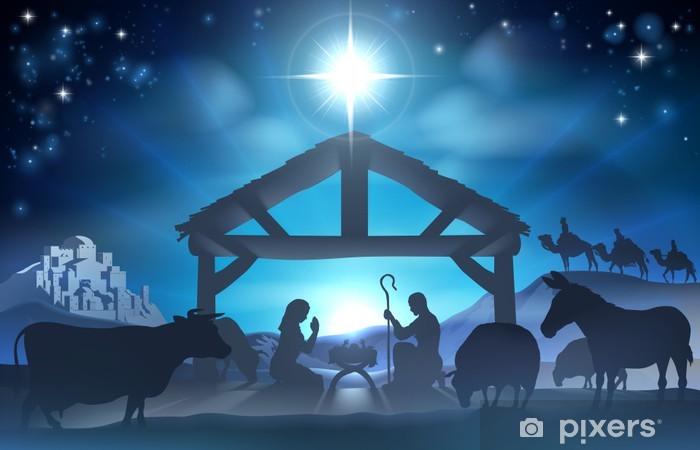 Papier peint vinyle Noël nativité scene - Noël
