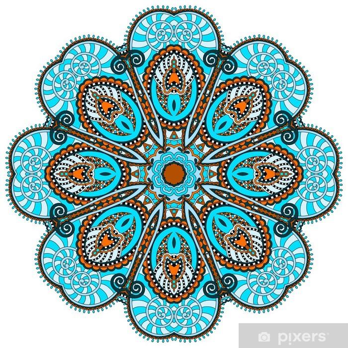 Vinilo Pixerstick Mandala, círculo decorativo símbolo indio espiritual de flujo de loto - Vinilo para pared